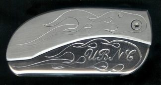 engraved flame with initials UBNC belt buckle knife