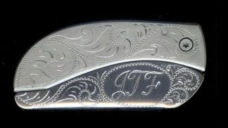 engraved scroll oval with initials belt buckle knife