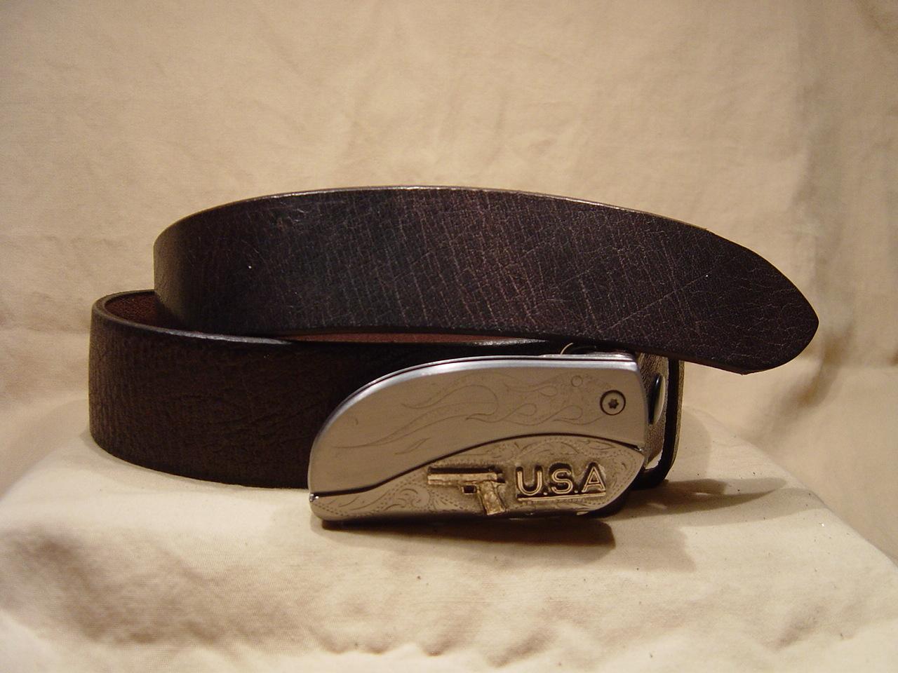 Antique brown leather belt with belt buckle knife