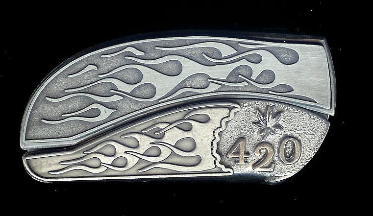Flame Flame Sterling Silver 420 and Pot Leaf Belt Buckle Knife